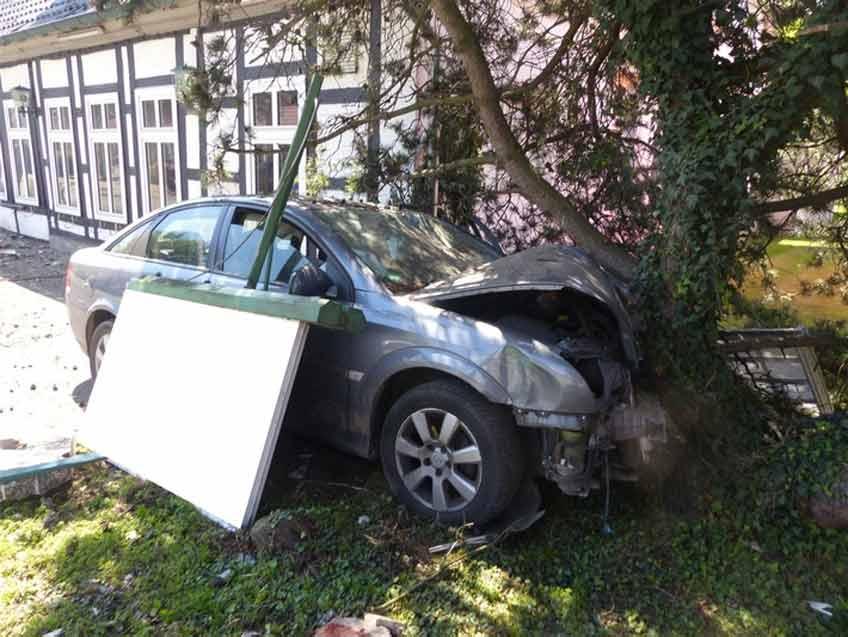 Der Wagen kam erst an einem Baum zum Stehen.