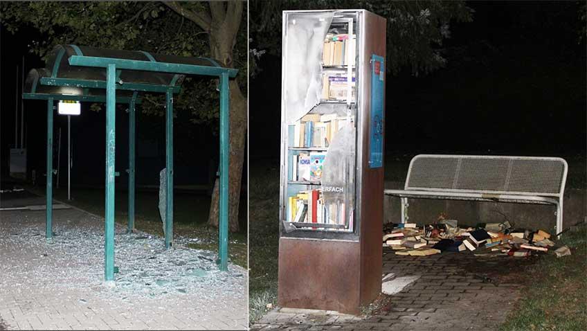 Die Unbekannten zerstörten die Scheiben von zwei Wartehäuschen. Außerdem wurde der Bücherschrank durch das Feuer stark in Mitleidenschaft gezogen.