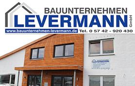 Bauen braucht Vertrauen und Kompetenz. Ganz gleich, ob es sich um An- oder Umbau, Renovierung oder Neubau handelt: Kunden vertrauen darauf, dass das beauftragte Bauunternehmen die vereinbarten Termine einhält, der Kostenrahmen nicht überschritten wird und alle Arbeiten fach- und sachgerecht nach den geltenden technischen Regeln erledigt werden. Genau diesen Ruf, sowohl termin- als auch kostentreu zu arbeiten und dabei handwerklich beste Qualität zu liefern, hat sich das Bauunternehmen Levermann GmbH, ansässig Am Alten Markt 22 in Pr. Oldendorf-Bad Holzhausen, in Jahrzehnten erworben.