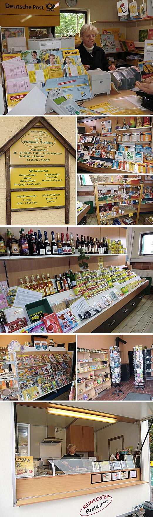 Der Blasheimer Dorfplatz beherbergt ein Einzelhandelsgeschäft, das die verschiedensten Waren und Dienstleistungen anbietet, eine Bäckerei und eine Postfiliale.