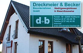 Mit Qualitätsarbeit hat die Dreckmeier & Becker Bauunternehmen GmbH hat seit ihrer Gründung im Jahr 1973 alle Konjunkturdellen und –einbrüche überstanden und sich einen guten Ruf in der Baubranche des Lübbecker Landes und darüber hinaus gesichert.