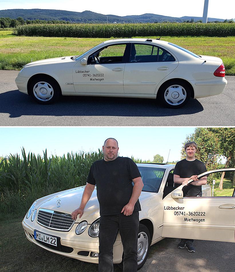 """""""Lübbecker Mietwagen"""" bietet mit derzeit einem Fahrzeug der Mercedes-E-Klasse einen 24-Stunden-Service an und ist rund um die Uhr zu erreichen unter der Rufnummer 05741-3620222."""