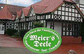 """Kaum eine Branche ist heutzutage so schnelllebig wie die Gastronomie. Traditionsreiche Häuser sind rar geworden - gerade auch auf dem Lande. """"Meier's Deele"""" bildet da eine bemerkenswerte Ausnahme im Lübbecker Land und darüber hinaus. Denn das Familienunternehmen """"Meier's Deele"""" blickt auf eine lange und wechselvolle Geschichte zurück, deren Höhepunkt die 100-Jahr-Feier sein dürfte - ein Jubiläum, das 2013 gefeiert wird. Inhaber Karlheinz Meier ist gelernter Industriekaufmann und hat den Familienbetrieb von seinen Eltern übernommen. Aus einem ehemaligen Lebensmittelladen ist unter seiner Leitung über viele Jahre hinweg ein florierendes Gastronomieunternehmen entstanden."""