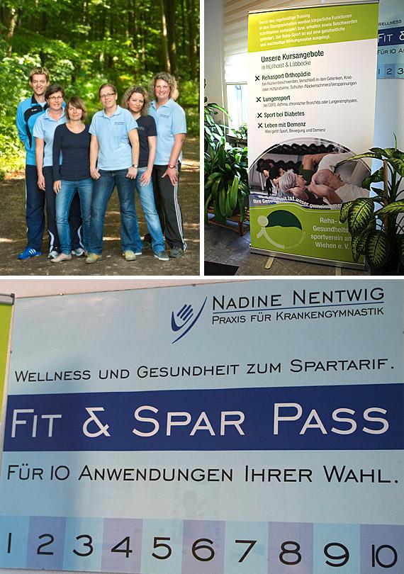 Praxis-Inhaberin Nadine Nentwig-Koschinski ist staatlich geprüfte Physiotherapeutin mit zahlreichen Zusatzqualifikationen von manueller Therapie bis zur Leitung von Aqua-Gymnastikgruppen.